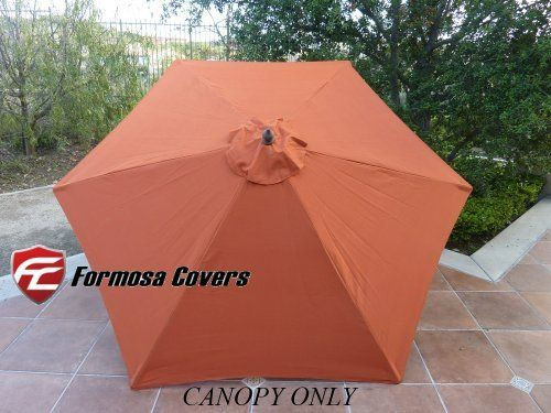 """9ft Umbrella Replacement Canopy 6 Ribs in Terra Cotta (Canopy Only) by Formosa Covers. $19.99. Fits 6 ribs umbrella frame ribs only from 52"""" to 54"""". 9ft umbrella replacement canopy for 6 ribs umbrella in Terra Cotta. Reinforced Grommet Size: 3/4"""" Diameter **NOTE: If the grommet is too small, please cut around it and screw the finial on tightly.. CANOPY ONLY. 300 denier polyester fabric with UV treated and water repellent.. Replacement umbrella CANOPY ONLY for 9ft 6 ribs  -Fits 6..."""