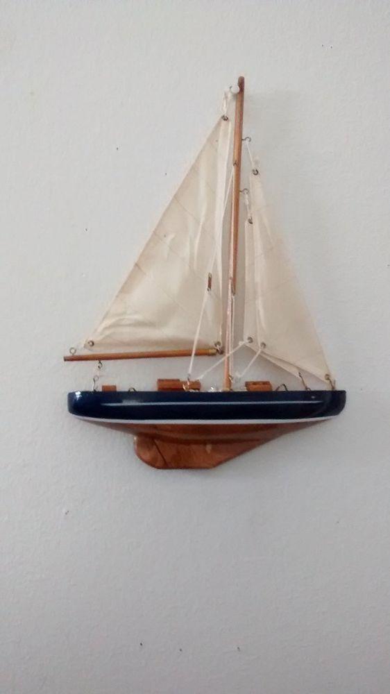 Small Wooden Half Hull Sail Boat Wood Hanging Nautical Wall Decoration Assembled