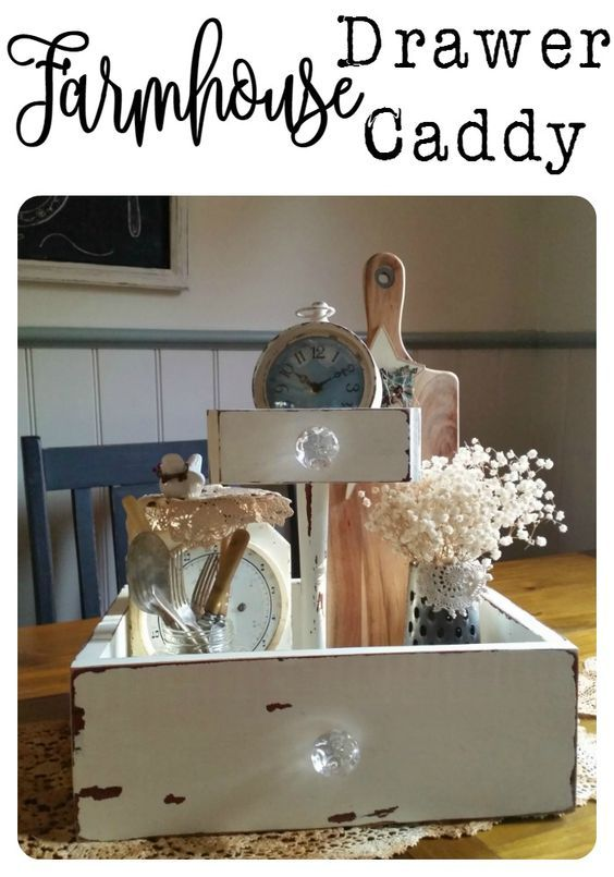 Old bits and pieces from a broken dressing table turned into a Farmhouse Drawer Caddy  www.raggedy-bits.com