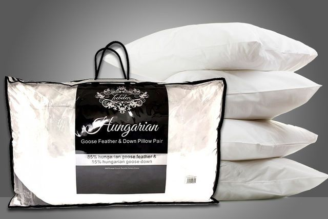 2 or 4 Hungarian Goose Feather & Down Pillows