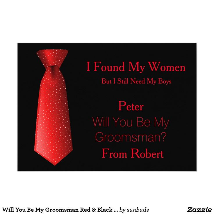 Will You Be My Groomsman Red & Black Tie 5x7 Paper Invitation Card