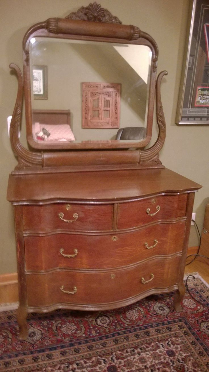 Antique Oak dresser with beveled Glass Mirror.  Beveled in very good condition. | eBay!