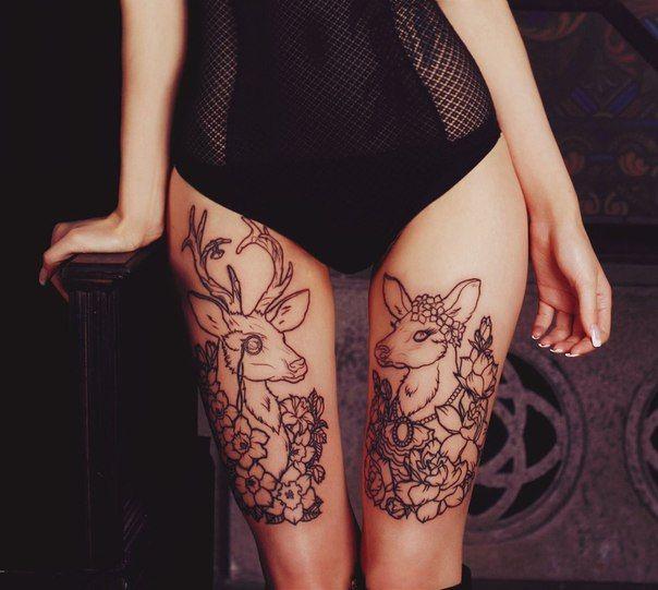 Thigh Tattoos: Fawn, Fallow, Deer, Flowers