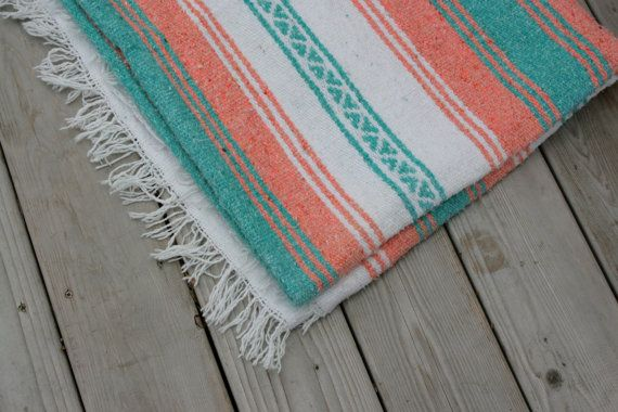 Vintage Blanket Mexican Cotton Woven Tribal Ethnic Native Southwestern Coral Peach Turquoise White Home Decor on Etsy, $25.00