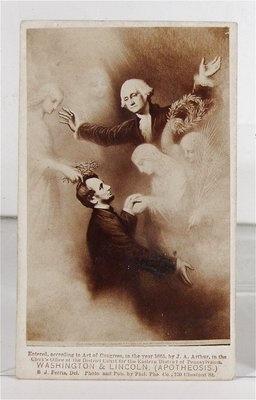 Unusual 1865 version of Abraham Lincoln & George Washington Apotheosis Albumen CDV.