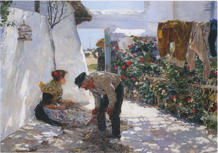 Fishing Nets by Joaquin Sorolla y Bastida. Spanish Realist, Impressionist Painter (1863 - 1923)