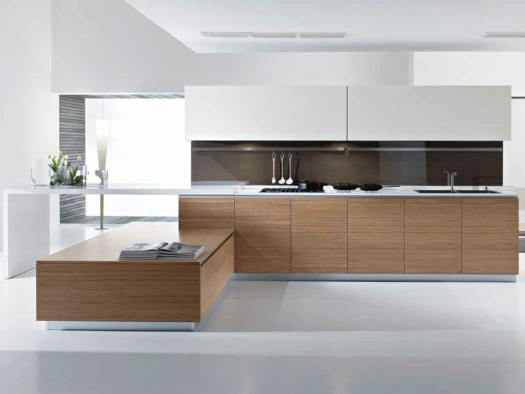 Wooden kitchen with peninsula PETALO by Pedini