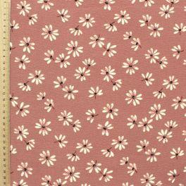 Tissu léger en crêpe imprimé pâquerette vieux rose