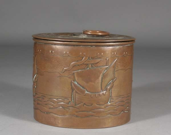 An arts and crafts Newlyn copper tea caddy of ovoid form with embossed seascape decoration incorporating sailing ships #shipping #ukauctioneers
