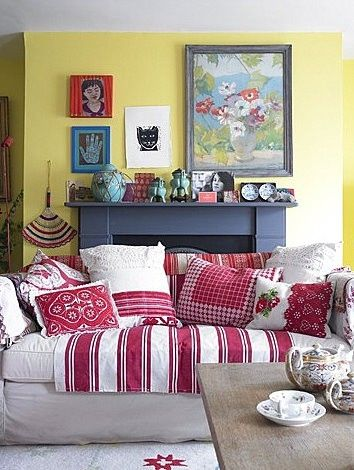 Re-styling an old couch with new cushions and throws.