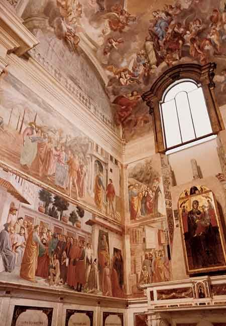 Brancacci Chapel located in the church of Santa Maria del Carmine. Frescoes are painted by Renaissance painter, Masaccio.