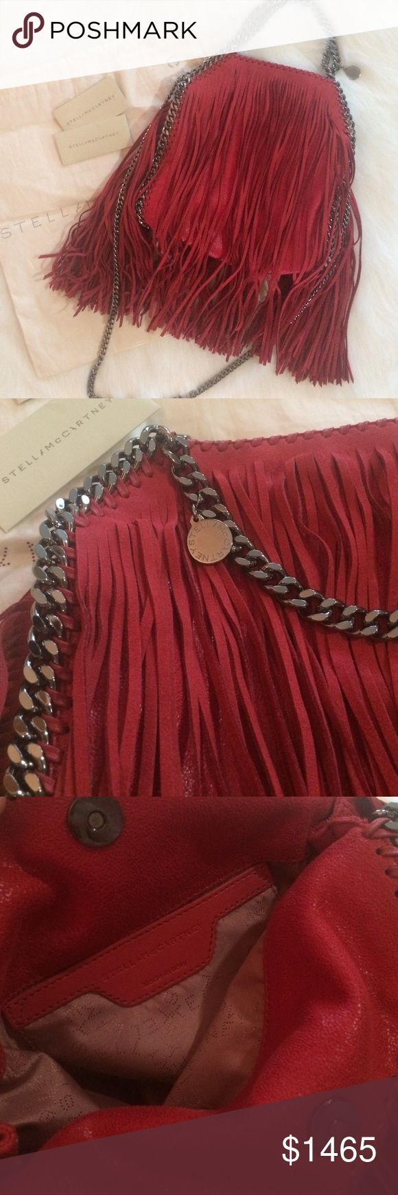 NWOT*Stella McCartney Mini Fringe Falabella Authentic. Never used. Mini cherry falabella with gunmetal chain. Dust bag and original tags included. Stella McCartney Bags