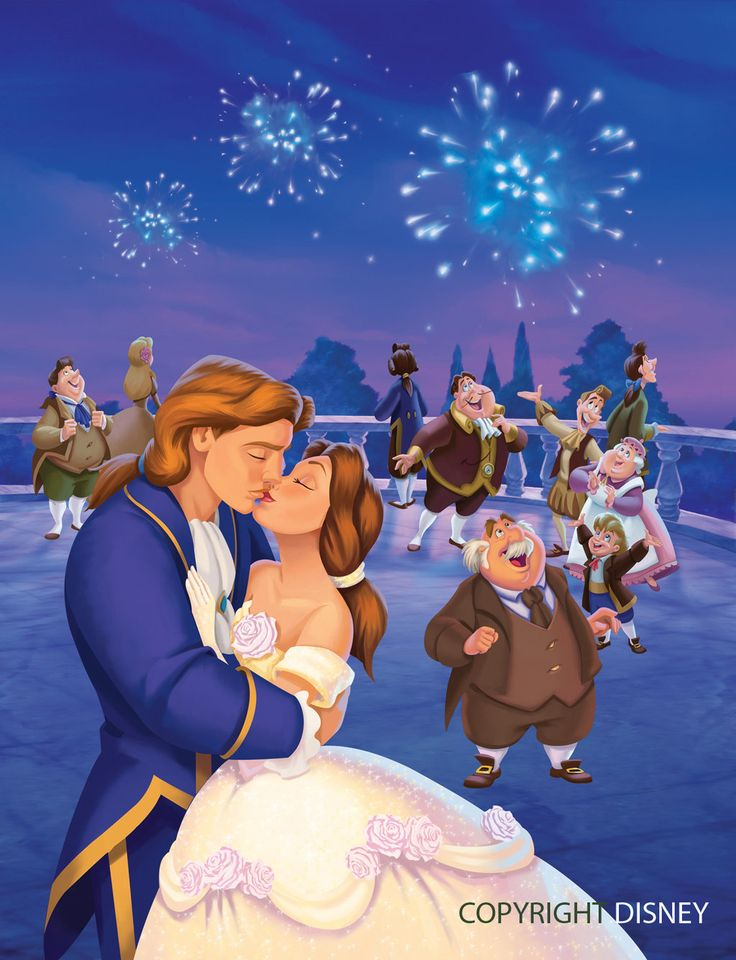 Belle and Prince Adam's Wedding Kiss with Fireworks