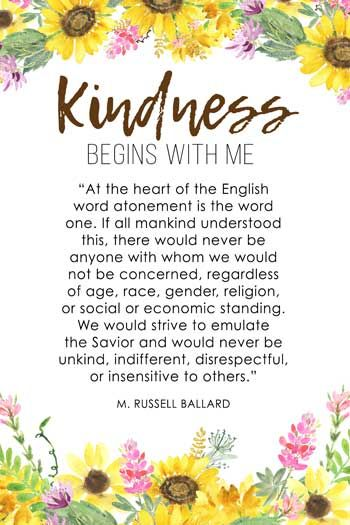 September Visiting Teaching Printable #lds #quote #mormon LDS Kindness Quote https://www.etsy.com/listing/541616316/september-2017-visiting-teaching-message