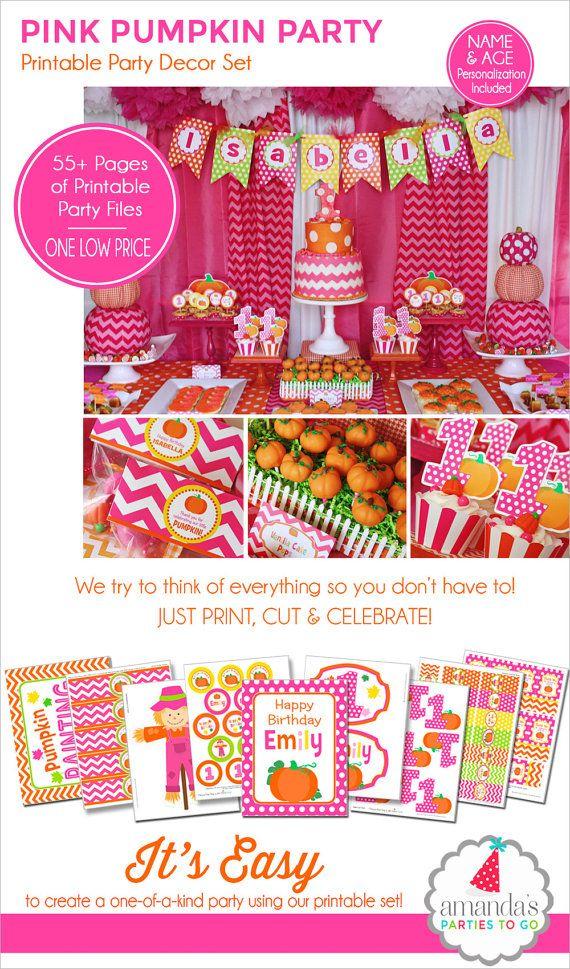 Pumpkin Patch Party Decorations | Pumpkin Party Printable | My Little Pumpkin | Girl Pumpkin | Pink Pumpkin Birthday | Amandas Parties To Go