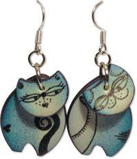 Retro paint   Polymer Clay Daily - cat earrings by Nikolina Otrzan