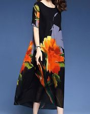 Women loose fit over plus size retro vintage flower dress linen long maxi tunic