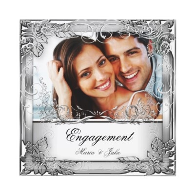 Silver engagement Invitation by Zizzago