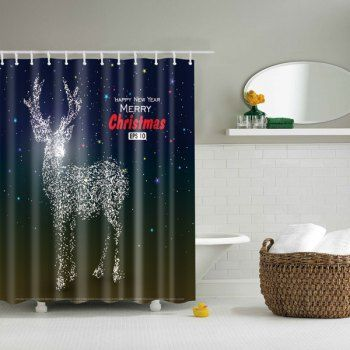 share get it free merry christmas deer printed waterproof bathroom shower curtainfor fashion lovers