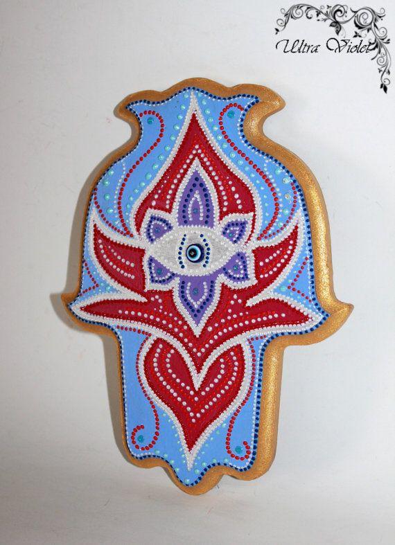 Hamsa Amulets, Kabbalah Hand of Fatima, hand painted