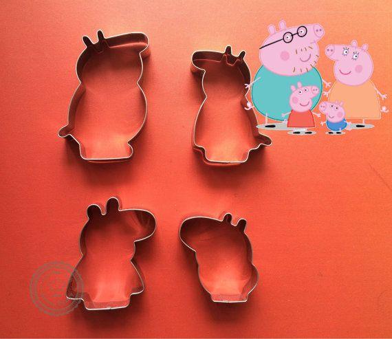 Set of 4 Peppa Pig Family Cookie Cutter Peppa by ArtSeaFartsy