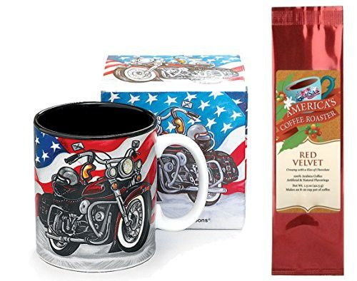 American Flag Motorcycle Mug with Red Velvet Coffee Gift Set (2 Items)