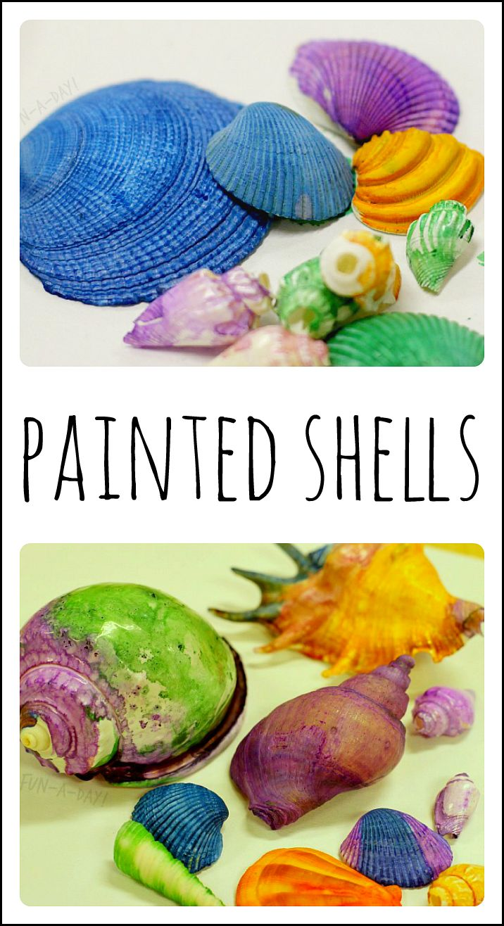 A fun process-based art experience for the kiddos. Perfect for an ocean theme. Great way to use found shells as art.