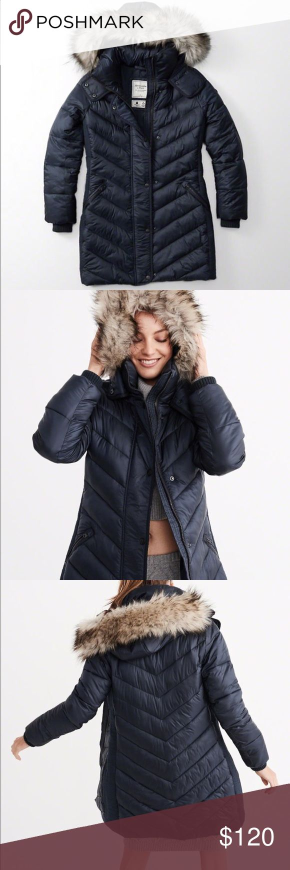 Quited parka puffer jacket Brand new - Navy blue Abercrombie & Fitch Jackets & Coats Puffers