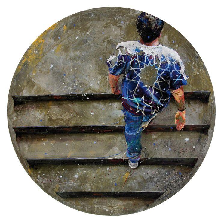 """""""Sur les marches de la gloire"""", Acrylique, résine et ciment sur toile, Diamètre : 80 cm"""