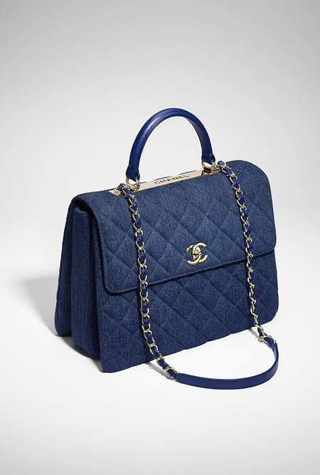 Flap bag with top handle, denim & gold-tone metal-blue - CHANEL  @michaelOXOXO @JonXOXOXO @emmaruthXOXO  #CHANEL