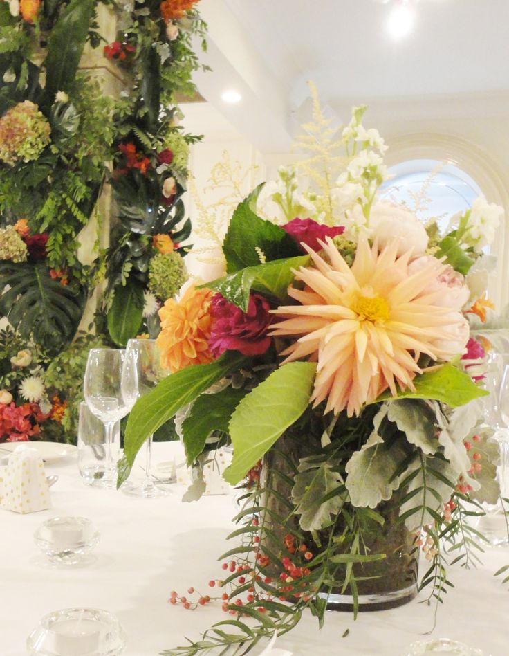 Centerpiece & wall of flowers - Ayers House, Adelaide
