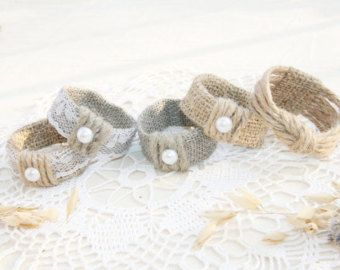 Burlap Wedding Napkin Rings Rustic Wedding Decor by FriendlyEvents