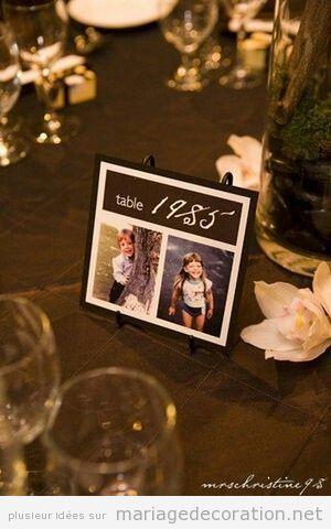 Oh là, si originale cette idé pour nommer les tables du repas de noces! Les photos des mariés comme enfants sont très mignones et on imagine que aura des autres époques sur les autres tables. Une g…