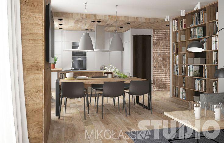 Przestronne wnętrze w stylu loftowym #jadalnia #salon #kuchnia #loft #styl industrialny #wnętrza