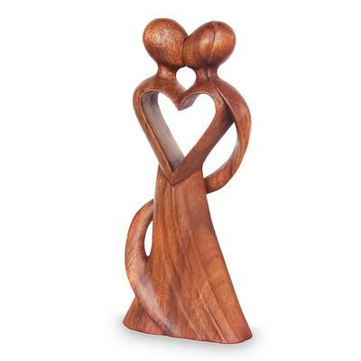 Original Wood Sculpture Hand Carved in Indonesia - My Heart and Yours | NOVICA