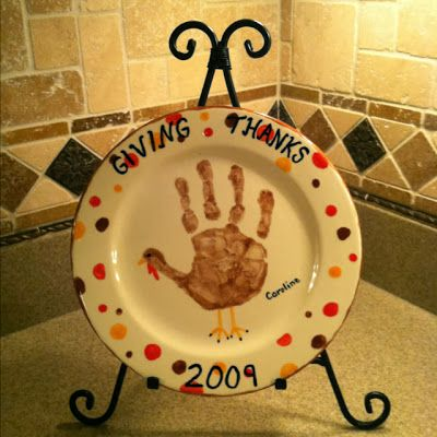 DIY Giving Thanks Plate with Handprint. Great Gift idea