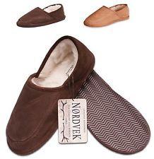 Nordvek Mens Suede Sheepskin Wool Blend Slippers Shoes Real Hard Sole 446-100