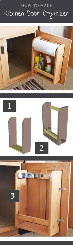 How to make a kitchen cabinet door organizer with paper towel holder for less than ten dollars! Free plans!