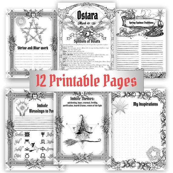 Ostara Spring Equinox Wiccan Sabbat Coloring Pages For Book Etsy Book Of Shadows Coloring Pages Wiccan