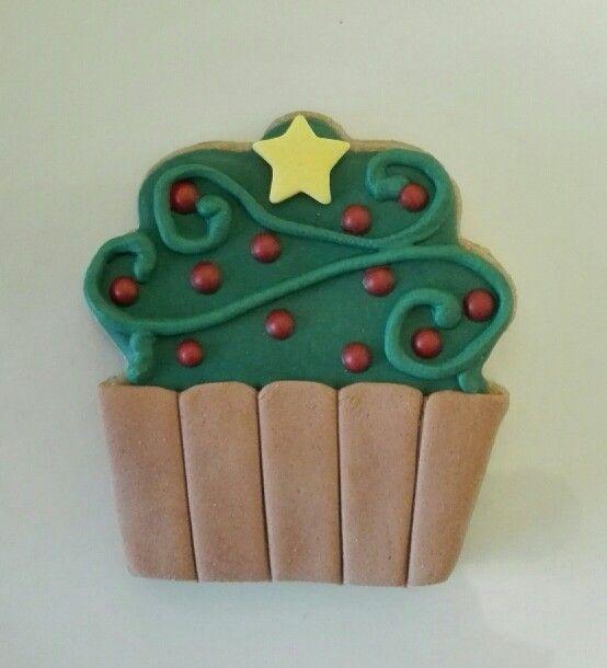 Galleta cupcake navidad