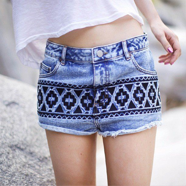 Tribal Embroidered Denim Shorts