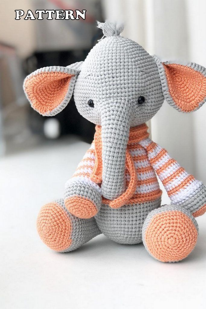 CROCHET PATTERN ELEPHANT Amigurumi doll / Stuffed Doll /   Etsy   1024x683