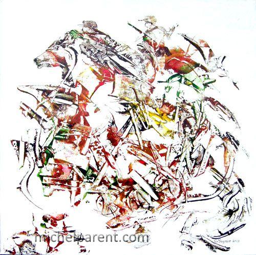 Chevauchée (Riding), 2013 acrylique sur toile,60 x 60 cm