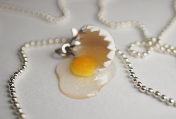 Miniature Food Jewelry Broken Egg Necklace by Sweetnsavorytrinkets, $10.00