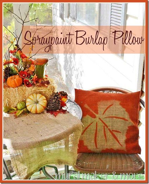 Fall leaf burlap pillow with spray paint & dollar store felt leaf from @MuralMaker1