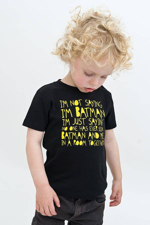 Premium t-shirt for the ultimate Batman fan!You'll love our kids batman t-shirt for the little superhero in your life! Premium branded Nappy Head t-shirt comprised of 100% Fair-Trade cotton, emblazoned with a yello high quality print. This super stylish t-shirt features the slogan ' I'm Not Saying I'm Batman I'm just saying no one has ever seen batman and me in a room together! Premium Fair-Trade Cotton6 months - 4 Years