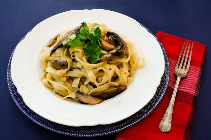 Garlicky mushrooms and fresh herbs tossed through freshly cooked tagliatelle. Recipe from Italian chef Gennaro Contaldo for Bertolli.