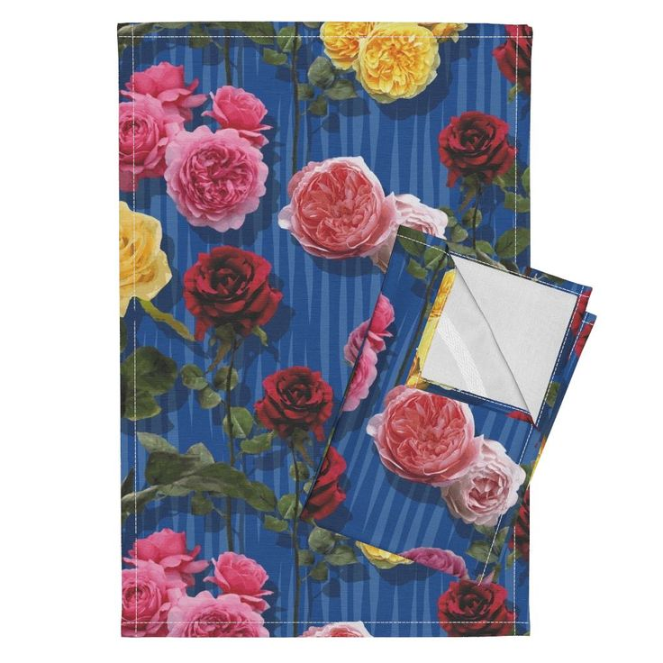 Orpington Tea Towels featuring Blue roses by angelfraser   Roostery Home Decor