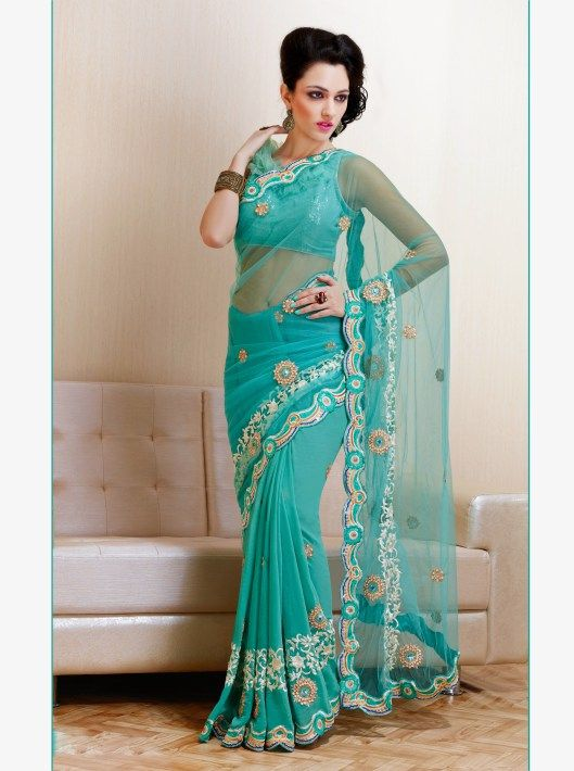 Plushy Greenish Blue Faux Georgette Net Embroidered Saree With Resham Work