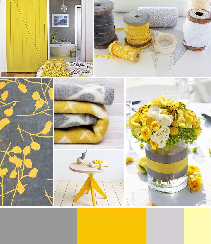 Сочетание+серого+и+желтого+в+интерьере